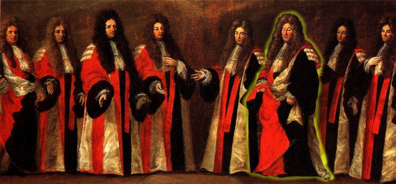 Le Capitoul Bernard Auriol (auréolé) signe un acte officiel pour la Ville le 4 Février 1648;
